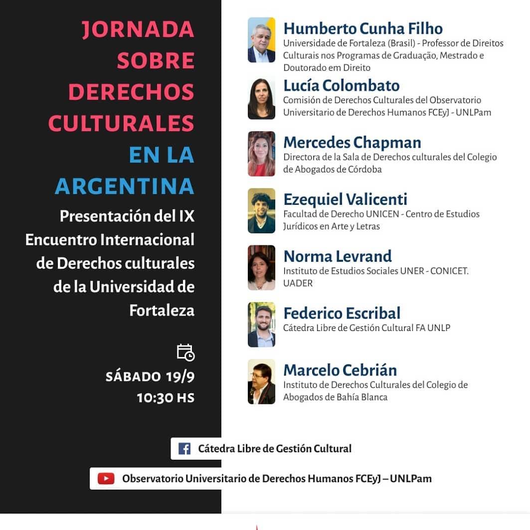 Flyer invitando a la Jornadas sobre Derechos Culturales
