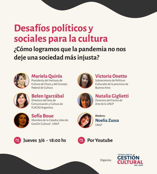 """Flyer de invitación a """"Desafíos políicos y sociales para la cultura"""""""