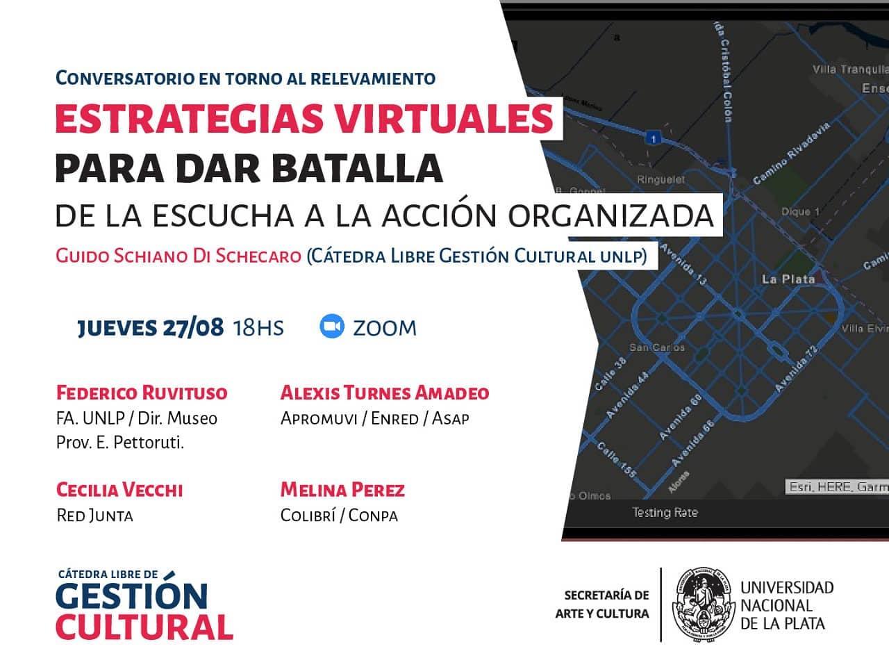 """Flyer invitando al conversatorio """"Estrategias virtuales para dar batalla"""""""